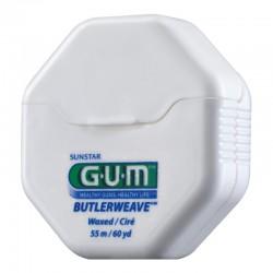 Зубная нить GUM BUTLERWEAVE UNWAXED,вощенная, 55м