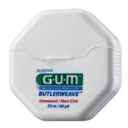 Зубная нить GUM BUTLERWEAVE MINT WAXED, мятная вощенная, 55м